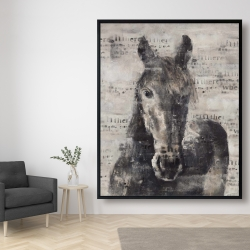 Framed 48 x 60 - Abstract horse with typography