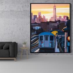 Framed 48 x 60 - Sunset over the subway in new-york