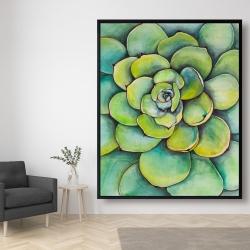 Framed 48 x 60 - Watercolor succulent plant