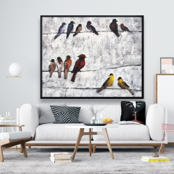 Framed 48 x 60 - Colorful birds on branches