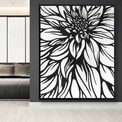 Framed 48 x 60 - Dahlia flower outline style