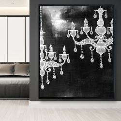 Framed 48 x 60 - White chandeliers