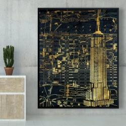 Framed 48 x 60 - Gold city blue print