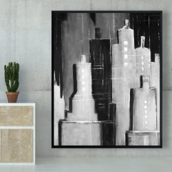 Framed 48 x 60 - Abstract black and white cityscape