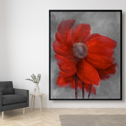 Framed 48 x 60 - Red flower in the wind
