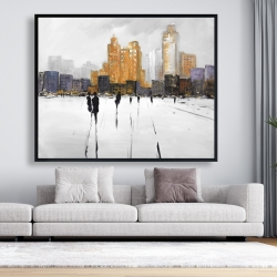 Framed 48 x 60 - Silhouettes walking towards the city