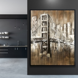 Framed 48 x 60 - Aged finish golden gate