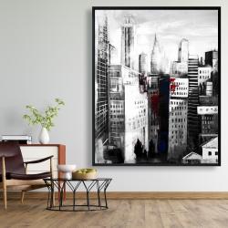 Framed 48 x 60 - White city with paint splash