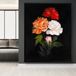 Framed 48 x 60 - Three beautiful rose flowers