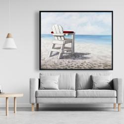 Framed 48 x 60 - White beach chair