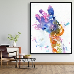 Framed 48 x 60 - Abstract giraffe with color splash
