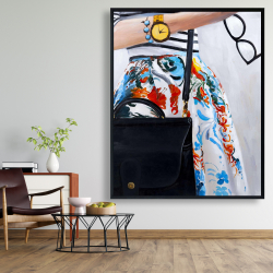 Framed 48 x 60 - Fashionable woman with glasses