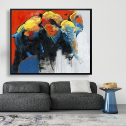 Framed 48 x 60 - Colorful abstract moving elephant