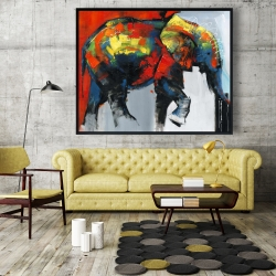 Framed 48 x 60 - Abstract and colorful elephant in motion