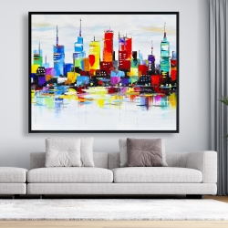 Framed 48 x 60 - Abstract and colorful city