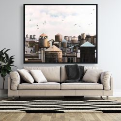 Framed 48 x 60 - Water towers with birds