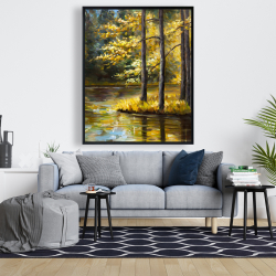 Framed 48 x 60 - Fall landscape by the water