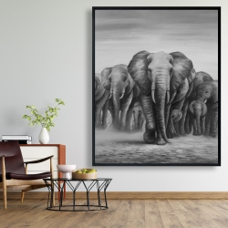Framed 48 x 60 - Herd of elephants