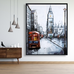 Framed 48 x 60 - Abstract london and red bus