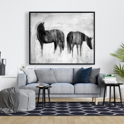 Framed 48 x 60 - Horses silhouettes in the mist