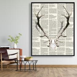 Framed 48 x 60 - Deer horns on newspaper