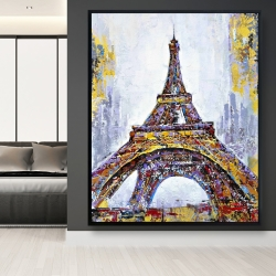 Framed 48 x 60 - Abstract paint splash eiffel tower