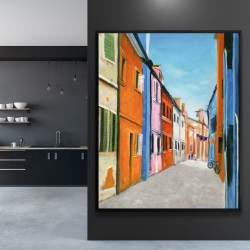 Framed 48 x 60 - Colorful houses in italy