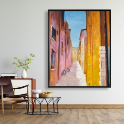 Framed 48 x 60 - Colorful houses in the streets of collioure