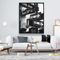 Framed 48 x 60 - New york city signs in front of an appartment