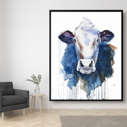 Framed 48 x 60 - Watercolor cow