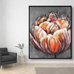 Framed 48 x 60 - Double and abstract orange tulip