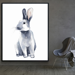 Framed 48 x 60 - Gray curious rabbit