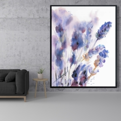 Framed 48 x 60 - Watercolor lavender flowers with blur effect