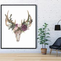 Framed 48 x 60 - Deer skull with flowers