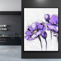 Framed 48 x 60 - Purple abstract flowers