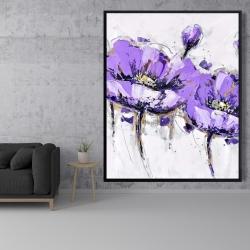 Framed 48 x 60 - Purple anemone flowers