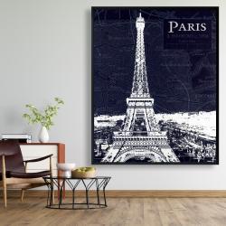 Framed 48 x 60 - Paris blue print and eiffel tower