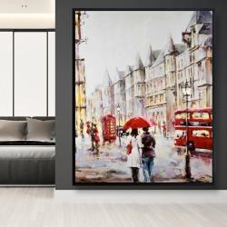 Framed 48 x 60 - European street by a rainy day