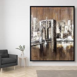 Framed 48 x 60 - Aged finish brooklyn bridge