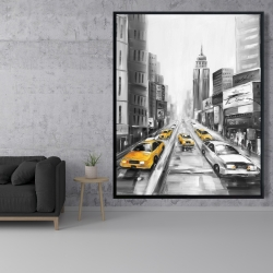 Framed 48 x 60 - Yellow taxis in new york