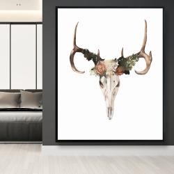 Framed 48 x 60 - Deer skull with roses
