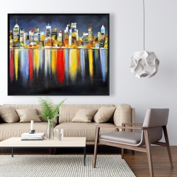 Framed 48 x 60 - Colorful reflection of a cityscape by night