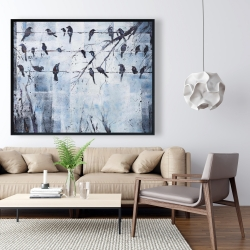 Framed 48 x 60 - Abstract birds on electric wire