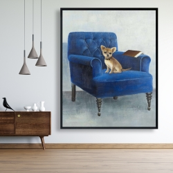 Framed 48 x 60 - Chihuahua on a blue armchair