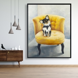 Framed 48 x 60 - Long-haired chihuahua on a yellow armchair