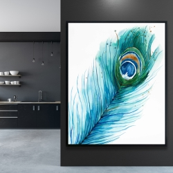 Framed 48 x 60 - Long peacock feather