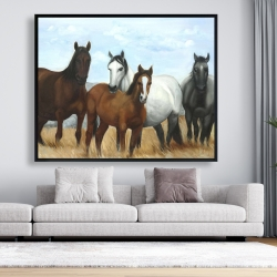 Framed 48 x 60 - Horses in the meadow by the sun