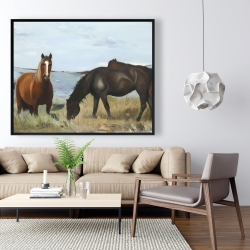 Framed 48 x 60 - Horses eating in the meadow