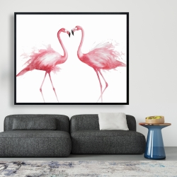 Framed 48 x 60 - Two pink flamingo watercolor