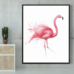Framed 48 x 60 - Pink flamingo watercolor